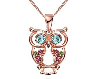 Rose Gold Plated Colorful Diamond Owl Necklace Stud Earrings for Women, Girls Jewelry