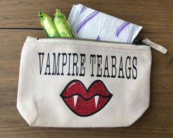 Vinyl Vampire Teabags Sanitry Pads Purse, Cosmetic Case, Tampon Holder, Pad Case, Sanitary Product, Mooncup bag