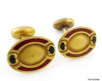 Antique Cufflinks Victorian Signed Ha & Co Red Green Enamel Bean Back