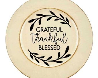 CUSTOM holiday, thanksgiving, give thanks decorative charger