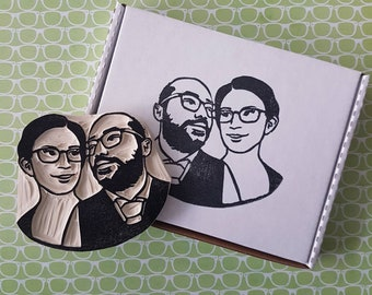 Custom Couples Portrait Stamp - Portrait Rubber stamp, custom face stamp, engagement gift, wedding gift, wedding stationary