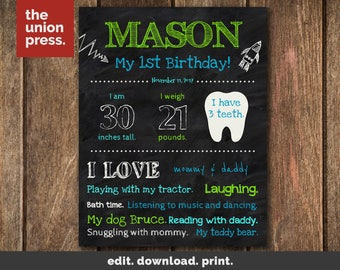 First Birthday Chalkboard Sign - 1st Birthday Sign Printable