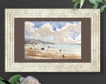 Ocean Seaside Landscape in Cloudy summer day with rocks and stones on the beach. Professional Marine Original Watercolor Painting