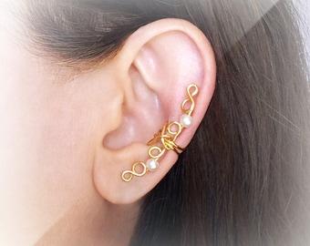 Gold Ear Cuff 24K gold plated Ear Wrap Pearls