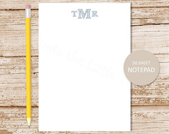 personalized notepad . sketched monogram note pad . personalized stationery . initials stationary