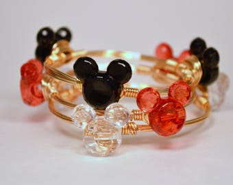 Miniature Mouse (Black, Red, or Clear) Wire Wrapped Bangle for Little Girl or Woman