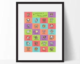 Difficult Feelings Poster, Educational Alphabet Vocabulary Word Art for Kids, Children, Emotions, Language Arts Classroom Decor, Teacher