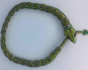 RESERVED - 1960s Margot De Taxco Sterling Enamel Snake Choker