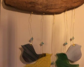Stained glass bird  windchime , wall hanging or sun catcher on a driftwood hanger ....wind chimes