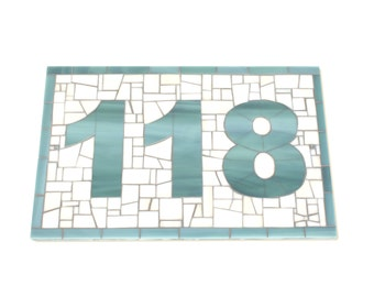 Custom Large Outdoor Mosaic House Number in Sea Blue and Cream Stained Glass Tiles