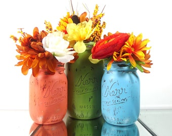 Rustic Home Decor, Painted Mason Jars, Flower Vase, Rustic Chic Decor, Distressed Decor, Rustic Centerpiece, Mason Jar Decor