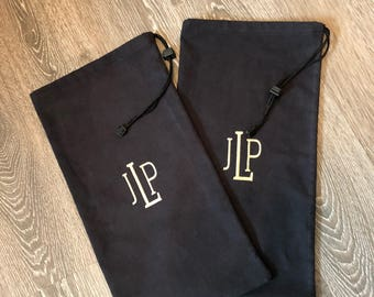 FLANNEL MONOGRAMMED SHOE bags / Men's gift / monogrammed gift /women's gift/Women's shoe bags, shoe bags for travel