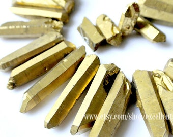 Titanium Points crystal, rock crystal quartz, Titanium rock crystal beads, Gold Titanium rock points drilled briolette