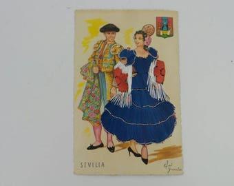 Spanish Embroidered Postcard, unused!!
