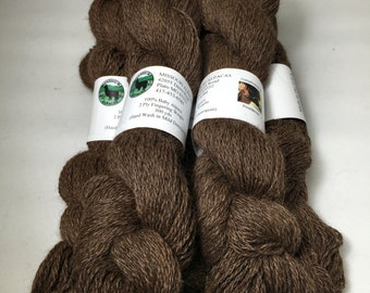 Alpaca Yarn, Finger Weight, Medium Brown