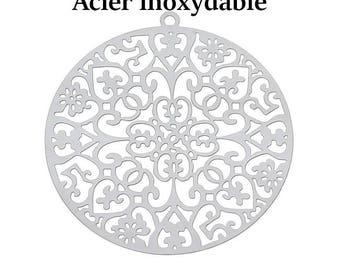 10 pendants flower engraved stainless steel