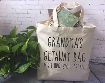 funny canvas tote bag/funny grandma gift/ mom gift/mother's day gift/ baby shower gift for grandma/ grandma's getaway bag