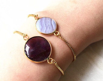Amethyst bracelet, Blue agate bracelet, Stripped Agate Druzy, Gold Druzy Chain bracelet adjustable for Women Ladies