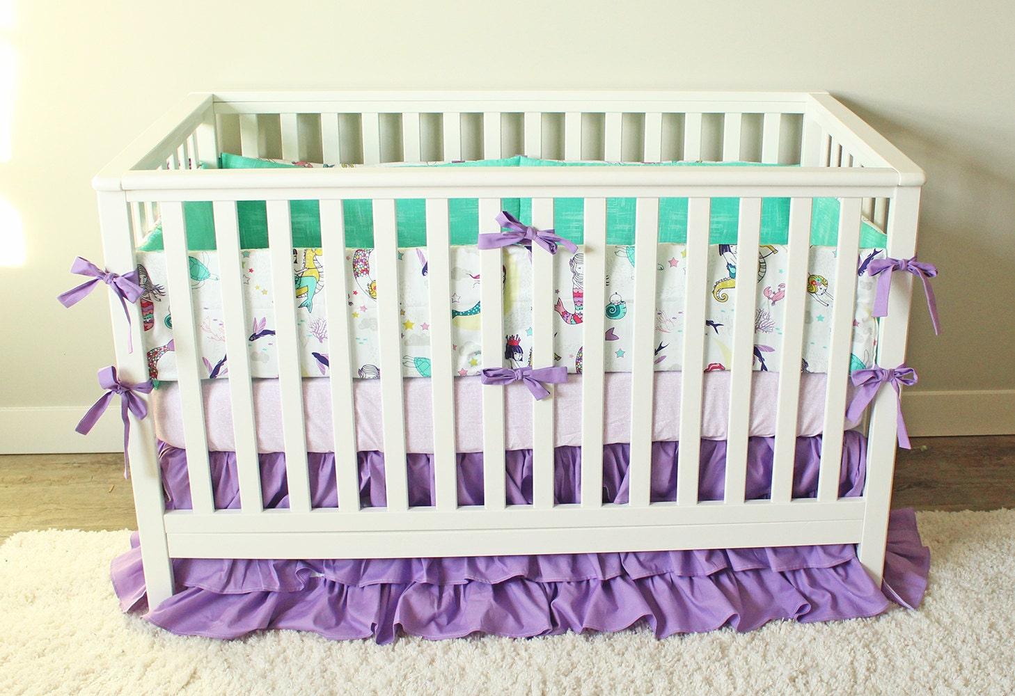 Purple Ruffle Crib Bedding