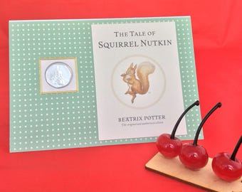 Peter Rabbit Beatrix Potter Squirrel Nutkin 50p coin personalised new baby christening children card