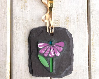 Purple Flower Mosaic on Slate Plaque ~ Mosaic Wall Art ~ Small Garden Ornament ~ Gift for Gardener ~ Scottish Gift ~ Made in Scotland ~ Eco