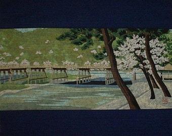 Furoshiki Masao Ido 'Arashiyama' Cherry Blossoms Japanese Fabric Kyoto Motif Cotton 48cm w/Free Insured Shipping