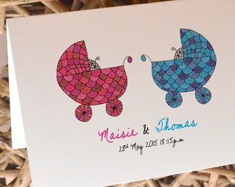 Personalised Twins/ New Baby/ Baby Shower Greetings card