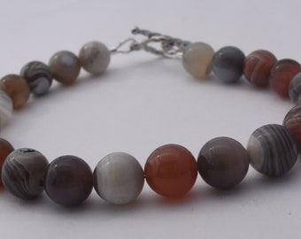 "Agate Bracelet, Botswana Beads, Sterling Silver, Handmade, OOAK, Toggle Clasp, 7.5"""