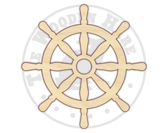 Ship Captains Wheel Wood Cut Out - 170188 - Unfinished wood, Various sizes, Cutout Sign Wood Craft Shapes