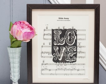 Personalised Sheet Music Love Linoprint Poster