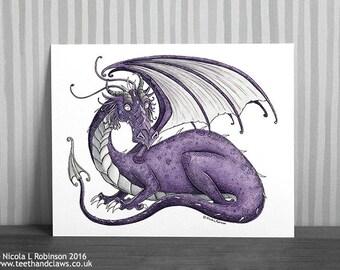 Purple Dragon Fantasy Art, Dragon Illustration, Dragon Decor, Dragon Art Print, Gothic Dragon, Purple Dragon, Signed art print, Dragon Gift,