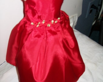 Red silk ballgown for the American girl doll
