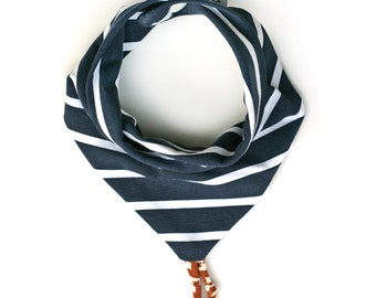Navy striped Bandana OekoTex baby boy or girl bib