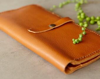 SALE 30% OFF...Foxy Brown Leather Cash Envelope Wallet / Slim Cash Organizer / Cash Envelope / Cash Budget Envelope / Long Wallet