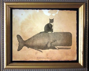 Cat Riding Whale - Tuxedo Cat Riding Whale - Vintage Collage Art Print on Tea Stained Paper - cat christmas gift - cat gifts