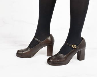 1970s Does 1940s Platform Peep Toe Pumps by Saks Fifth Avenue Size 8