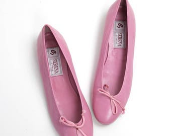 size 8.5-9 | Vintage Italian Leather Flats | Pink Leather Ballerina Flats | Round Toe Leather Shoes | 39.5