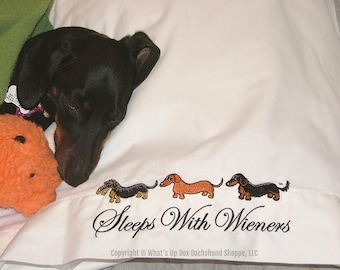 Dachshund Pillowcases Sleeps with Wieners Embroidered Set of 2