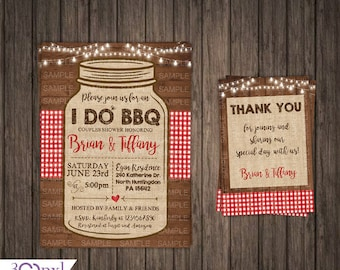 I DO BBQ Rustic Mason Jar Invitation IDO Barbecue Engagement Party Couples Engagement Invite Printable or Printed Rustic Wedding Rehearsal
