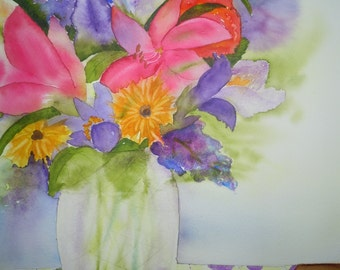 Bouquet on Quilt Watercolor Notecard