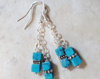Turquoise Gemstone 4mm Cubes & Silver Handmade Beaded Earrings