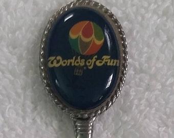 Kansas City Worlds of Fun Souvenir Collectible Spoon with Cotton Blossom Train Le Taxi Rides Cedar Fair Amusement Park
