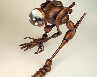 BIG Fish Walker Biped ExAqua Exploratory Copper Machine Vehicle All Wood Replica Statue