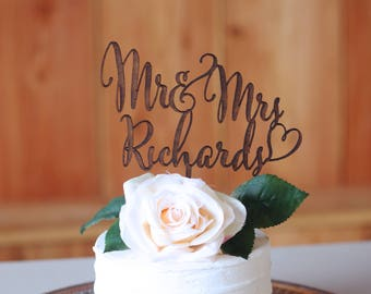 Wedding Cake Topper, Mr and Mrs Wedding Cake Topper, Personalized Cake Topper, Bride and Groom, Custom Wedding Cake Toppers, Cupcake Topper