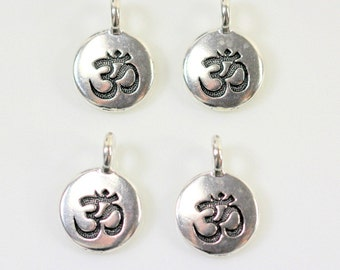 TierraCast Charms, OM Charms,Om Drops, Jewerly Findings, Leather Findings, Antique Silver Plated Lead Free Pewter, 4 or More Pieces, 0412