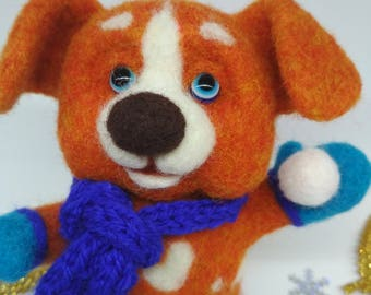 Dog toy, dog made of wool, felted toy, soft toy, red dog, dog lovers