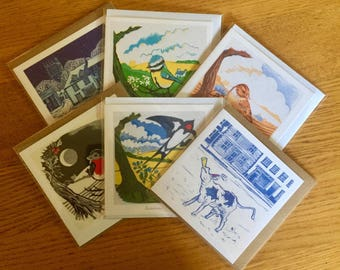 Your choice of 6 of our square artist cards from original linocut prints -  6 for the price of 5!
