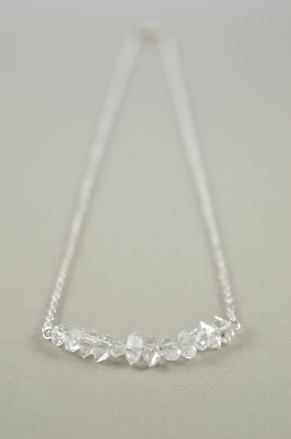 Herkimer Diamond Gemstone Bar Necklace