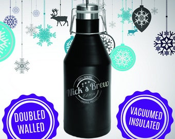 Personalized-100% Genuine Original Product-Brew-Polar Camel 64 oz Growler-Double Wall-Vacuum Insulated-Black Growler-Laser Engraved