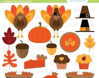 Thanksgiving Day Elements- Clip Art Set Digital Elements for Cards, Stationery and Paper Crafts and Products